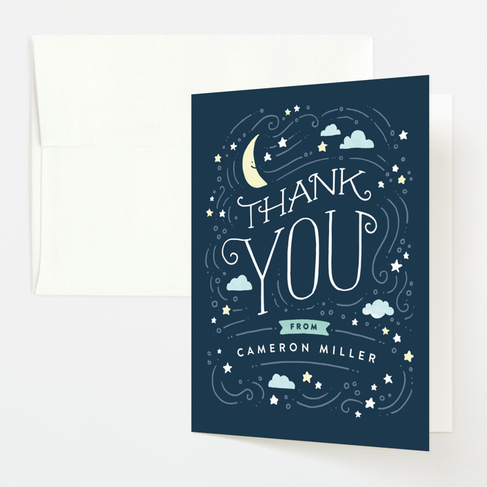 """""""Moon and stars"""" - Baby Shower Thank You Cards in Midnight Blue by Jennifer Wick."""