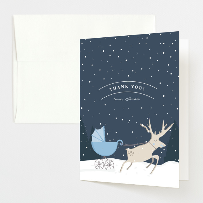 """Oh Deer"" - Baby Shower Thank You Cards in Glacier by Creo Study."