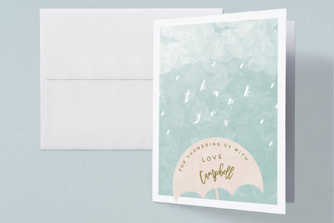 Rain Baby Shower Thank You Cards