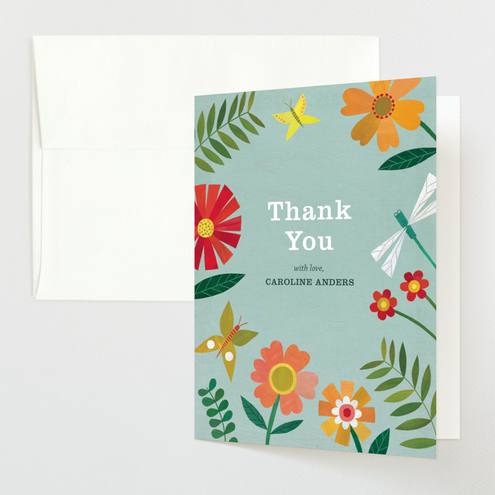 """""""Garden Border"""" - Baby Shower Thank You Cards in Sky by melanie mikecz."""