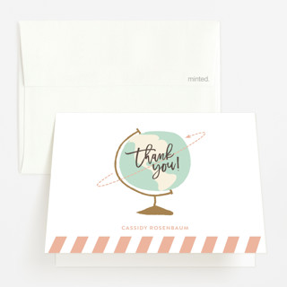 Round The World Baby Shower Thank You Cards