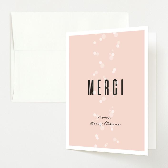 """Rosé Et Bébé"" - Baby Shower Thank You Cards in Rose by Julie Hebert."