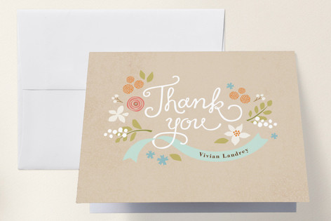 Rustic Ribbons and Flora Baby Shower Thank You Cards
