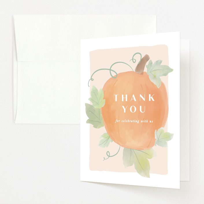 """""""Lil Pumpkin"""" - Whimsical & Funny Baby Shower Thank You Cards in Blush by Creo Study."""