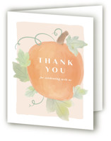 This is a beige baby shower thank you card by Creo Study called Lil Pumpkin with standard printing on strathmore in standard.
