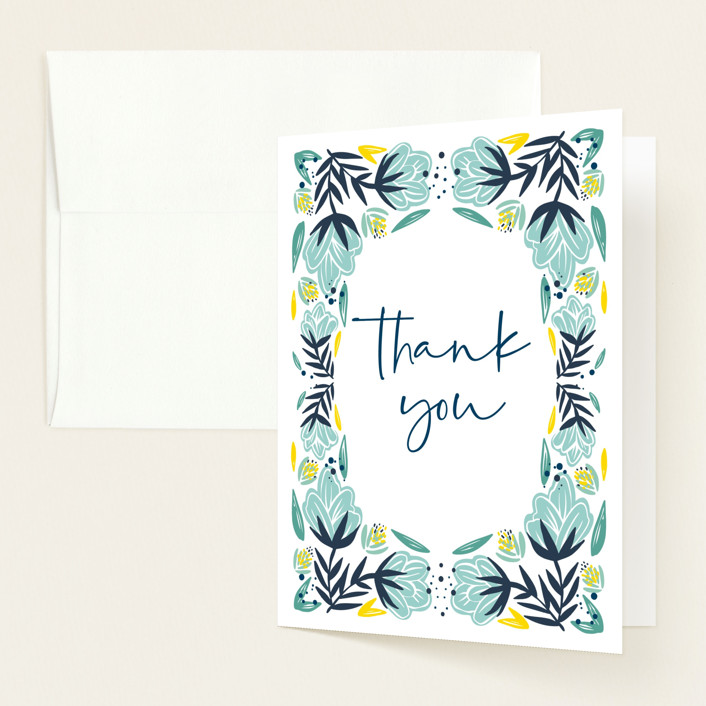 """""""Vintage Florals"""" - Baby Shower Thank You Cards in Aqua by Mayflower Press."""