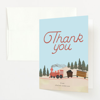 Miniature Railroad Baby Shower Thank You Cards