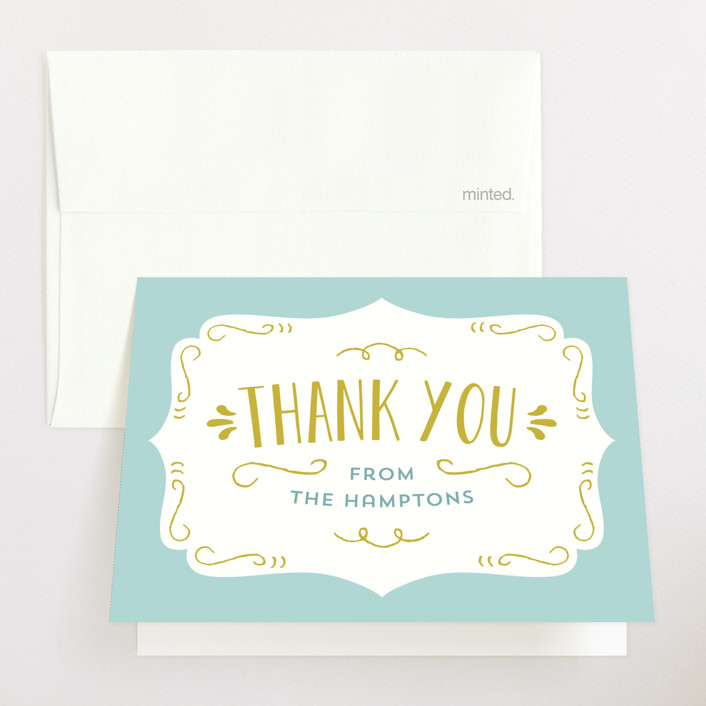 """""""Baby Brewing"""" - Bold typographic Baby Shower Thank You Cards in Goldenrod by Laura Hankins."""