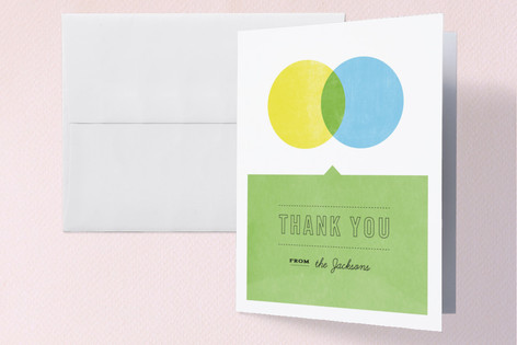 Yellow and Blue Make Green Baby Shower Thank You Cards
