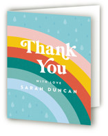 This is a blue baby shower thank you card by Maria Alou called Mod Rainbow Sprinkle with standard printing on strathmore in standard.