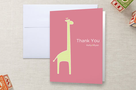 dotty the giraffe Baby Shower Thank You Cards
