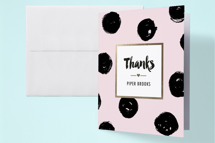 """""""Bold Dots"""" - Preppy Baby Shower Thank You Cards in Cotton Candy by Simona Camp."""