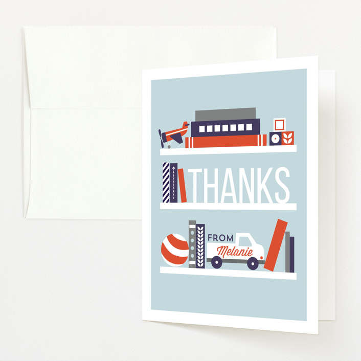 """""""Stock The Shelves"""" - Preppy Baby Shower Thank You Cards in Sky by JeAnna Casper."""