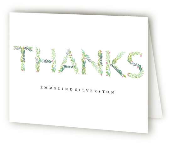 Gentle Foliage Letters Baby Shower Thank You Cards