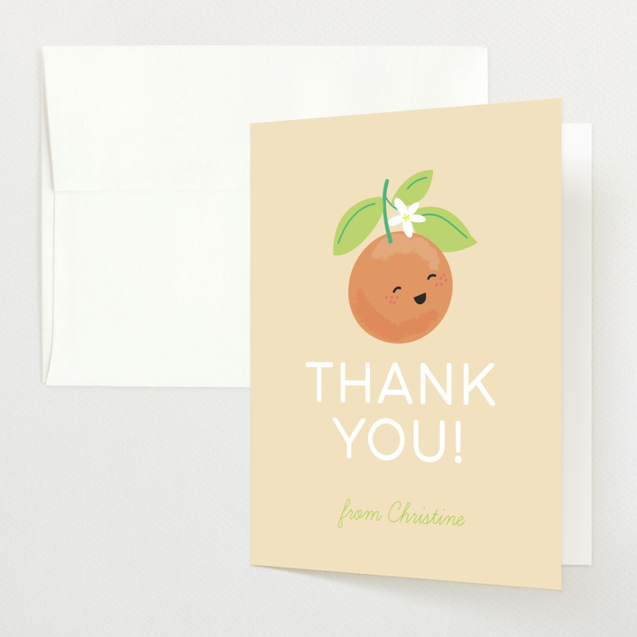 """""""Little Cutie"""" - Baby Shower Thank You Cards in Citrus by Itsy Belle Studio."""
