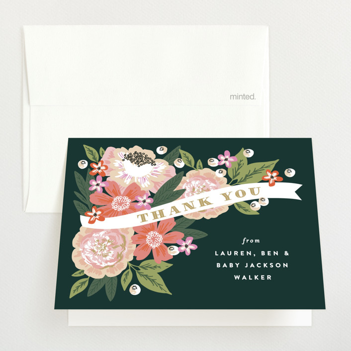 """""""Floral Banner"""" - Baby Shower Thank You Cards in Petal by Alethea and Ruth."""