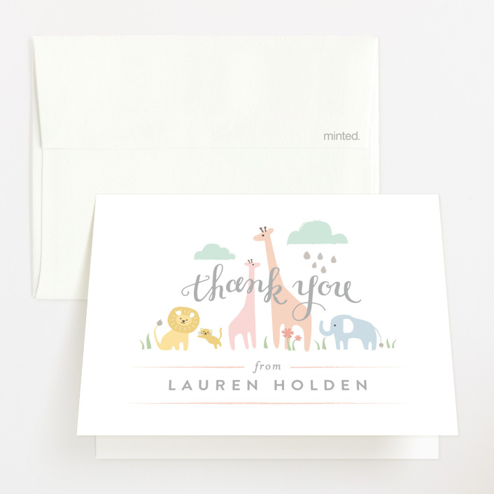 """""""Petite Jungle shower"""" - Baby Shower Thank You Cards in Forest by Jennifer Wick."""