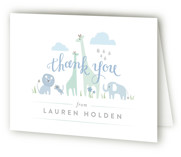 This is a blue baby shower thank you card by Jennifer Wick called Petite Jungle shower with standard printing on strathmore in standard.