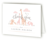 This is a pink baby shower thank you card by Jennifer Wick called Petite Jungle shower with standard printing on strathmore in standard.