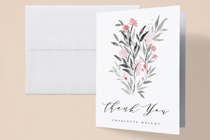 """Little Flowers"" - Baby Shower Thank You Cards in Poinsettia by Qing Ji."
