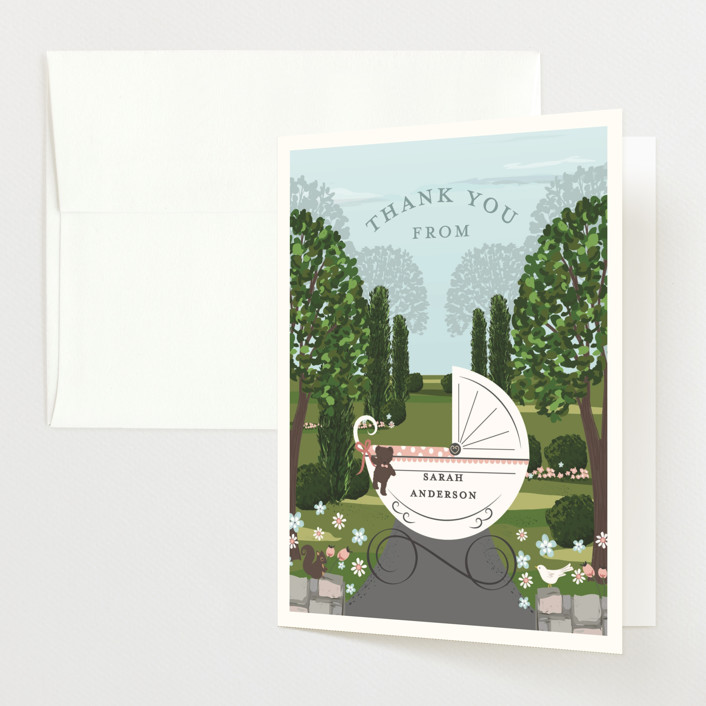 """""""Just Delivered"""" - Baby Shower Thank You Cards in Blush by Susan Moyal."""
