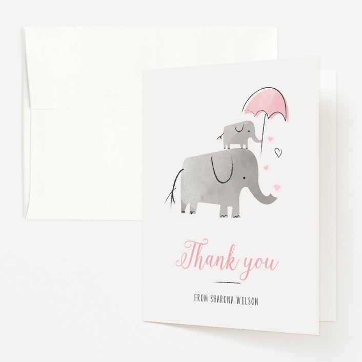 """""""Elephant Love"""" - Hand Drawn Baby Shower Thank You Cards in Rose by Chryssi Tsoupanarias."""