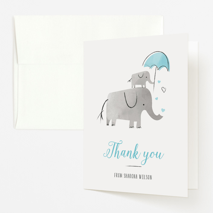 """""""Elephant Love"""" - Hand Drawn Baby Shower Thank You Cards in Sky by Chryssi Tsoupanarias."""