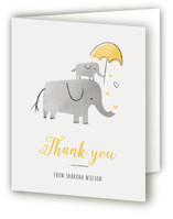 This is a yellow baby shower thank you card by Chryssi Tsoupanarias called Elephant Love with standard printing on strathmore in standard.
