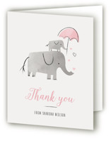 This is a pink baby shower thank you card by Chryssi Tsoupanarias called Elephant Love with standard printing on strathmore in standard.
