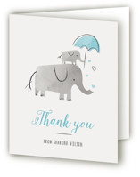 This is a blue baby shower thank you card by Chryssi Tsoupanarias called Elephant Love with standard printing on strathmore in standard.