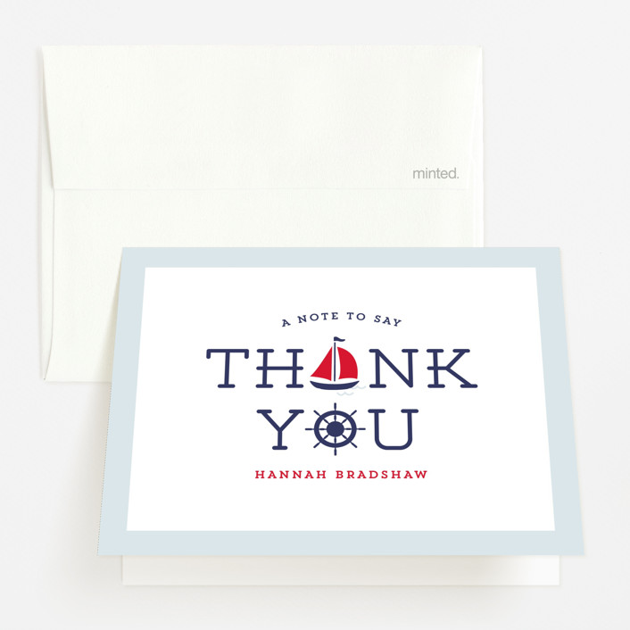 """""""Ahoy"""" - Simple, Preppy Baby Shower Thank You Cards in Apple by Lauren Chism."""