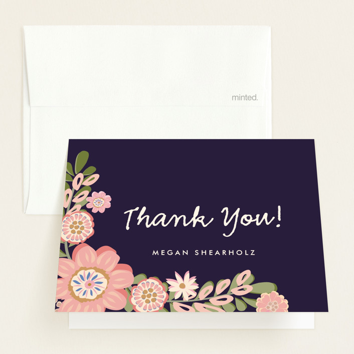 """Sweet Baby Girl"" - Floral & Botanical Baby Shower Thank You Cards in Navy by Chris Griffith."