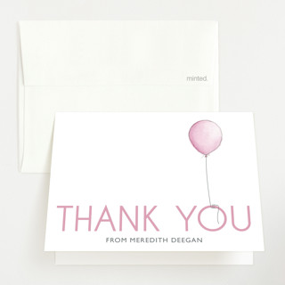 Girl Balloon Baby Shower Thank You Cards