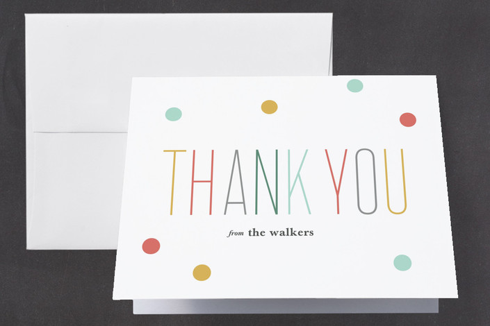 """""""Oh Baby Confetti"""" - Modern Baby Shower Thank You Cards in Mint by Carolyn MacLaren."""