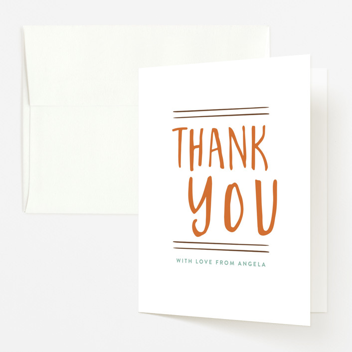 """A Little Pumpkin"" - Baby Shower Thank You Cards in Seafoam by Amy Payne."