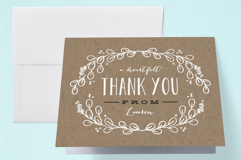 Kraft Circle Baby Shower Thank You Cards