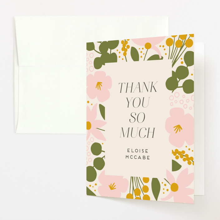 """""""Blossoms Abound"""" - Baby Shower Thank You Cards in Chartreuse by Genna Blackburn."""