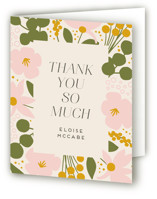 This is a green baby shower thank you card by Genna Blackburn called Blossoms Abound with standard printing on strathmore in standard.