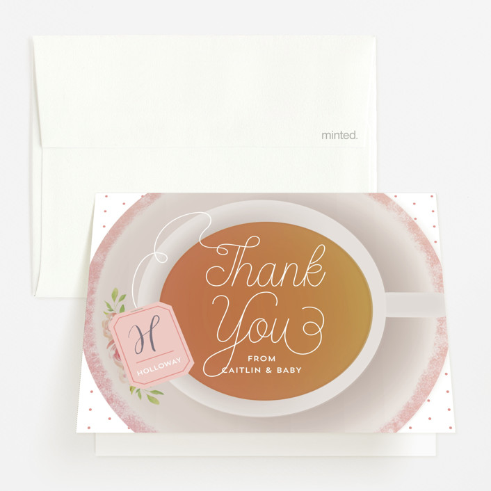 """""""Baby Brewing"""" - Baby Shower Thank You Cards in Rooibos by Dawn Jasper."""