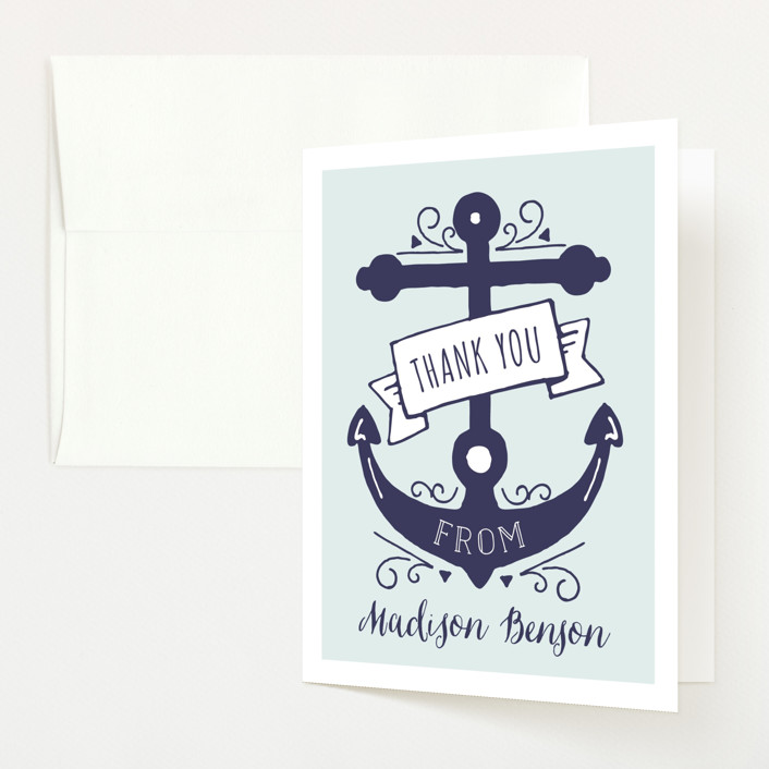 """Oh Boy!"" - Bold typographic Baby Shower Thank You Cards in Wave by JeAnna Casper."