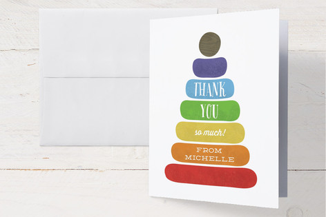 Classic Stacking Toy Baby Shower Thank You Cards