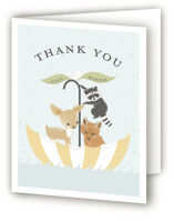 This is a yellow baby shower thank you card by Susan Moyal called Umbrella Sailing with standard printing on strathmore in standard.