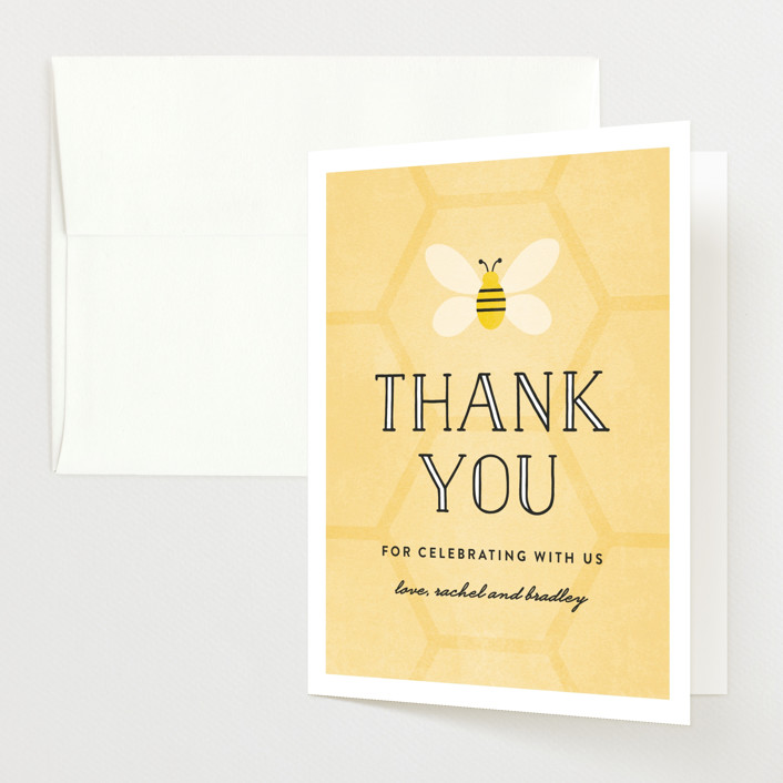 """""""What Will It Bee"""" - Preppy, Hand Drawn Baby Shower Thank You Cards in Honeycomb by Erica Krystek."""