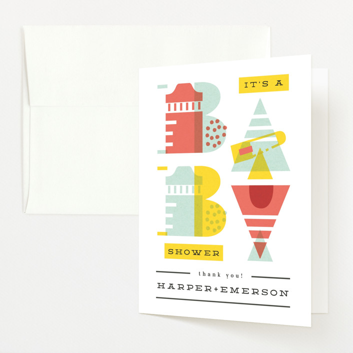 """""""De Stijl baby"""" - Baby Shower Thank You Cards in Cherry by Ana de Sousa."""