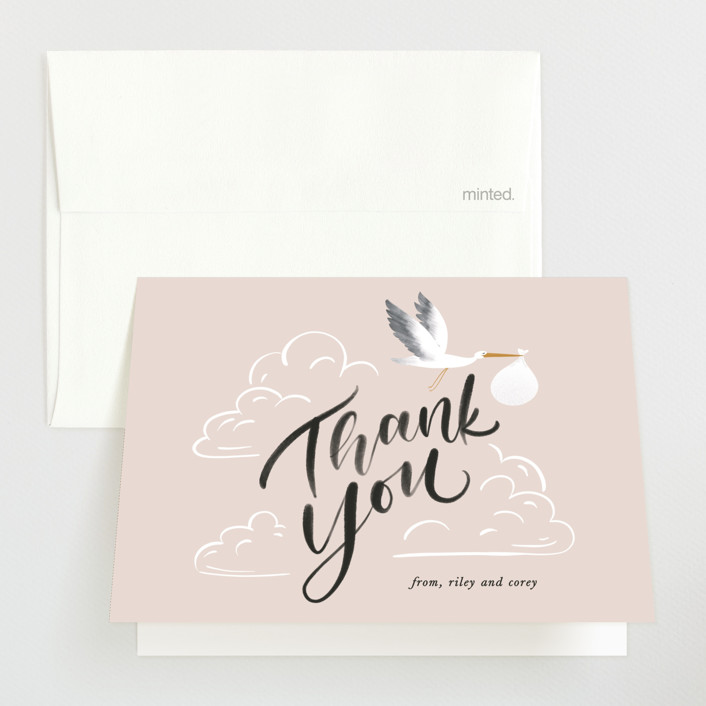 """""""Greatest Gift"""" - Baby Shower Thank You Cards in Blush by Leah Bisch."""