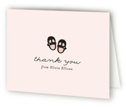 This is a pink baby shower thank you card by Annie Holmquist called Mary Jane with standard printing on strathmore in standard.