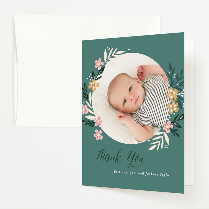 """""""Hello Little One Florals"""" - Baby Shower Thank You Cards in Seagreen by Alethea and Ruth."""