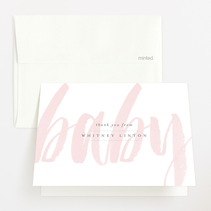 """Whisper"" - Modern, Bold typographic Baby Shower Thank You Cards in Blush by Sara Hicks Malone."