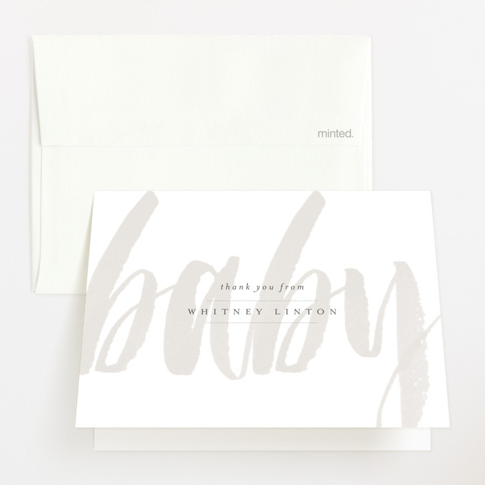 """""""Whisper"""" - Modern, Bold typographic Baby Shower Thank You Cards in Blush by Sara Hicks Malone."""