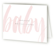 This is a pink baby shower thank you card by Sara Hicks Malone called Whisper with standard printing on strathmore in standard.